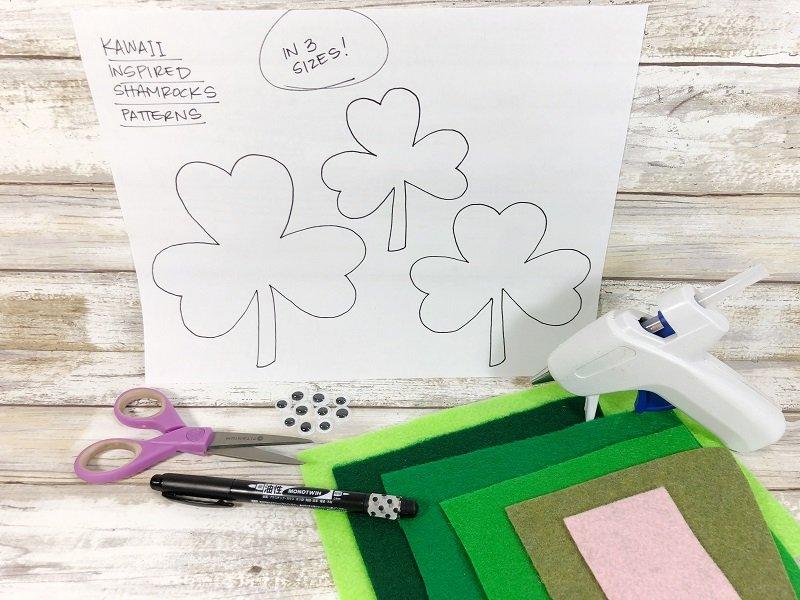 Simple materials needed for the easiest felt Shamrocks Creatively Beth #creativelybeth #shamrocks #kidscrafts #kawaii #feltcrafts