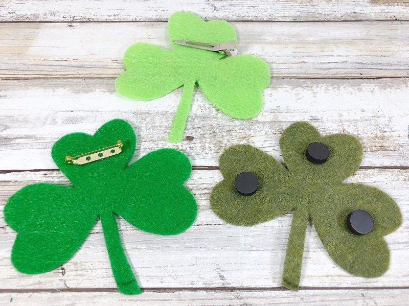Bonus ideas add a pin back, hair clip or magnets to the Shamrocks Creatively Beth #creativelybeth #shamrocks #kidscrafts #kawaii #feltcrafts