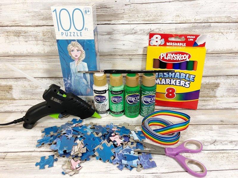 Materials needed to create a Shamrock Wreath Creatively Beth #creativelybeth #upcycle #shamrock #dollartreecraft #kidscraft #lucky