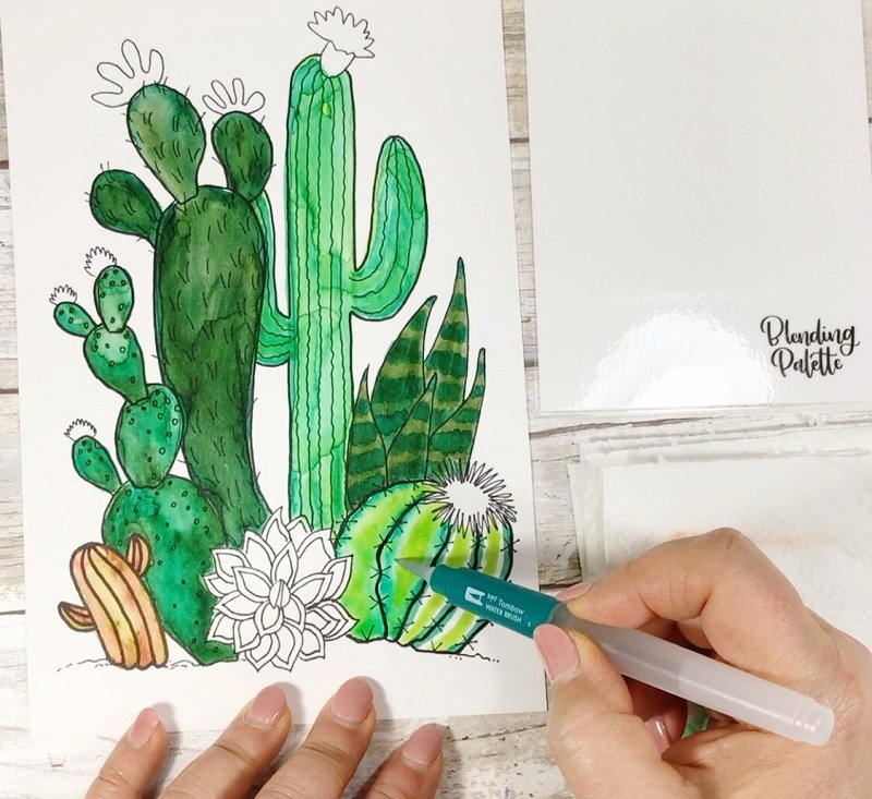 Direct Blending Watercolor Technique Creatively Beth #creativelybeth #watercolor #freeprintable #freedownload #cactus #succulents