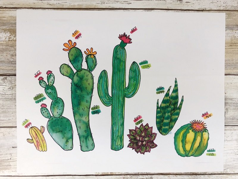 Download a Free Printable Cactus Color Chart Creatively Beth #creativelybeth #watercolor #freeprintable #freedownload #cactus #succulents