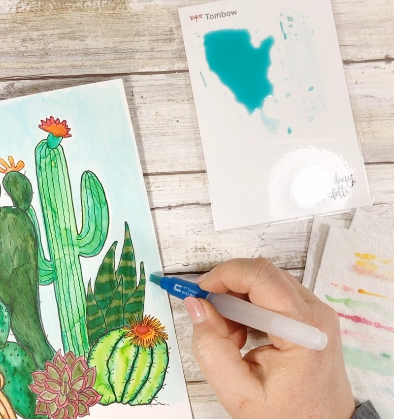 WSet and wet watercolor method Creatively Beth #creativelybeth #watercolor #freeprintable #freedownload #cactus #succulents
