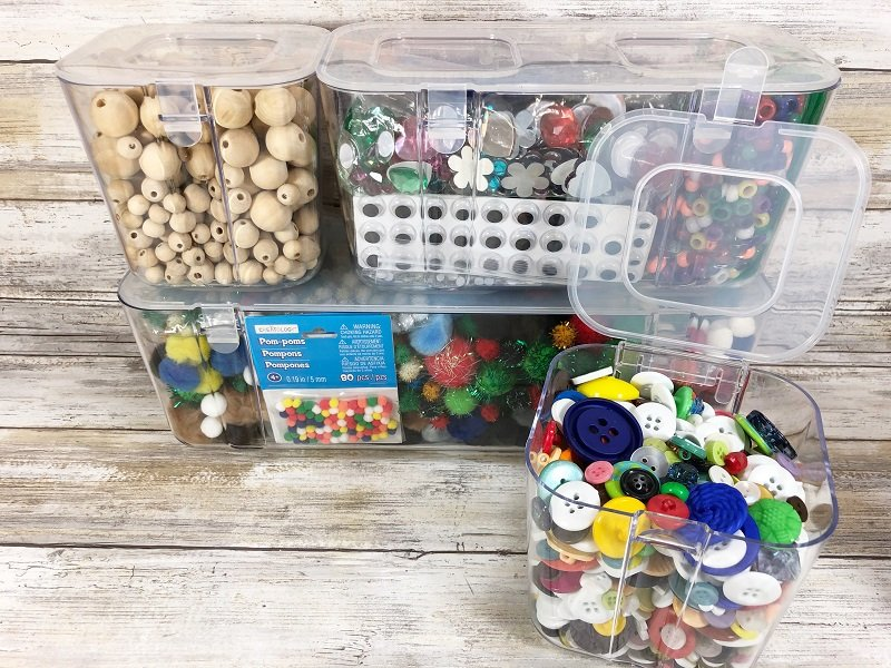 Organize all your crafting supplies with Stackable Caddy Organizer from Deflecto Creatively Beth #cretivelybeth #dollartreecrafts #kidscrafts #craftorganization #rainbowcrafts