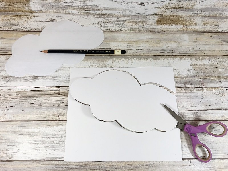Download trace and cut out cloud pattern Creatively Beth #cretivelybeth #dollartreecrafts #kidscrafts #colorblending #rainbowcrafts