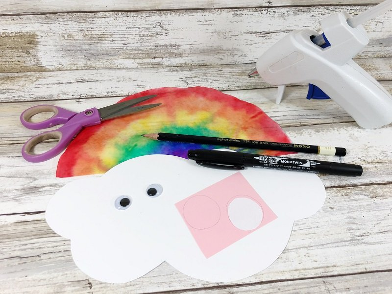 Gather materials to make cloud features Creatively Beth #cretivelybeth #dollartreecrafts #kidscrafts #colorblending #rainbowcrafts