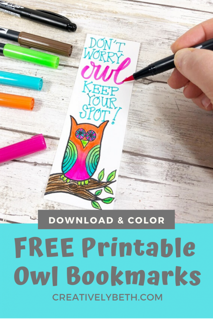 Free Printable to download four doodle owl bookmarks Creatively Beth #creativelybeth #owls #freeprintable #howtodoodle #drawing
