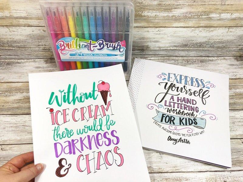 Hand Lettering with Kids Creatively Beth #creativelybeth #beyondtheblackboard #amylatta #handlettering #kidscrafts #weareooly