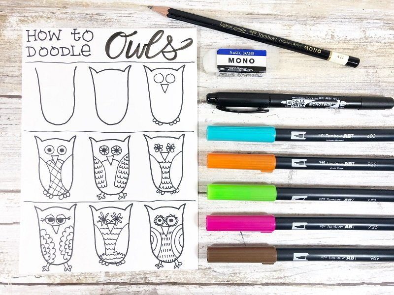 Free Download Creatively Beth #creativelybeth #owls #freeprintable #howtodoodle #drawing