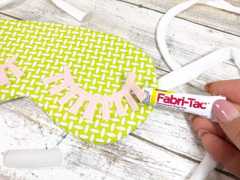 Attach eyelashes to sleep mask with Beacon Fabri-Tac Creatively Beth #creativelybeth #sleepmask #freepattern #easysewing #polyfil