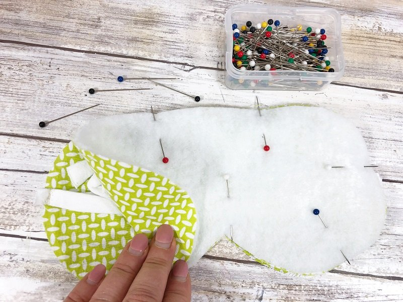 Layer fabric and Poly-Fil Project Fleece then pin Creatively Beth #creativelybeth #sleepmask #freepattern #easysewing #polyfil