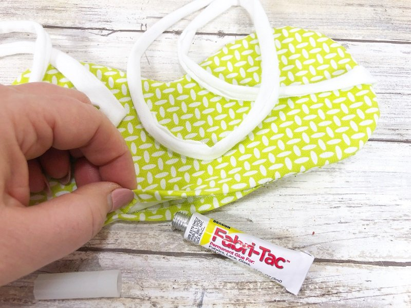 Secure opening at top with Beacon Fabri-Tac Creatively Beth #creativelybeth #sleepmask #freepattern #easysewing #polyfil