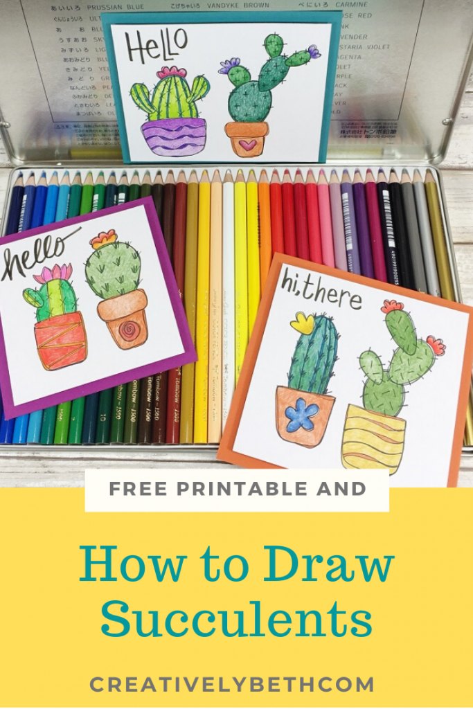How to Draw Succulents with a FREE Printable Creatively Beth #creativelybeth #freeprintable #cactus #coloringpage
