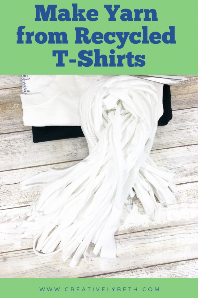 How to make yarn from recycled t-shirts Creatively Beth #creativelybeth #tshirtyarn #recycledcrafts #upcycledcrafts #quickcrafts #easycrafts