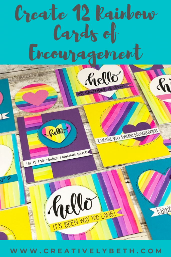 A dozen cards featuring handmade rainbow paper created with tombow dual brush pens by Creatively Beth #creativelybeth #cards #handmade #rainbow #tombowdualbrushpens