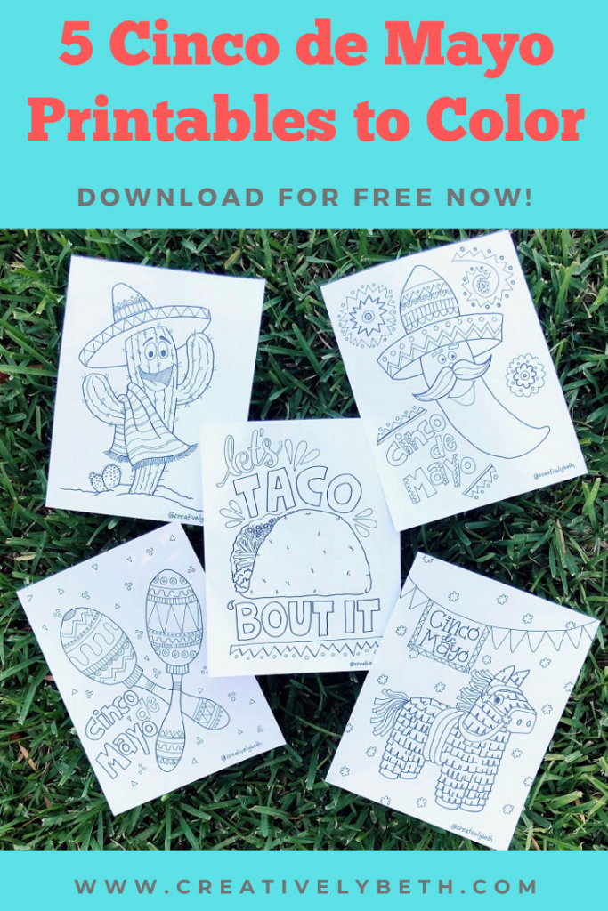 5 Free Printable Downloads to Color for Cinco de Mayo #creativelybeth #free #printables #cincodemayo #coloring #pages