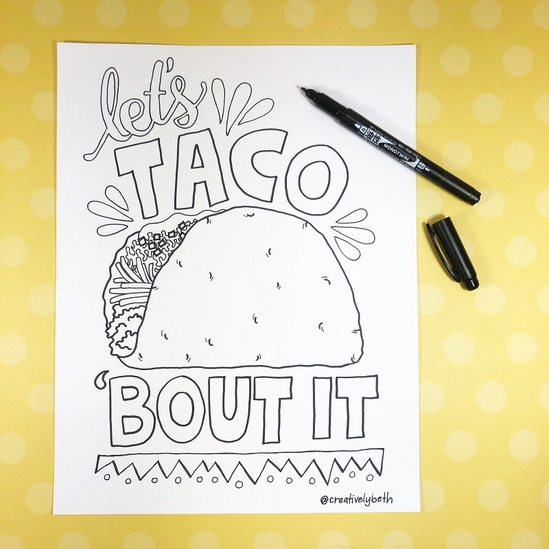 Lets Talk Bout It Free Printable Creatively Beth #creativelybeth #free #printables #coloring #pages #cincodemayo