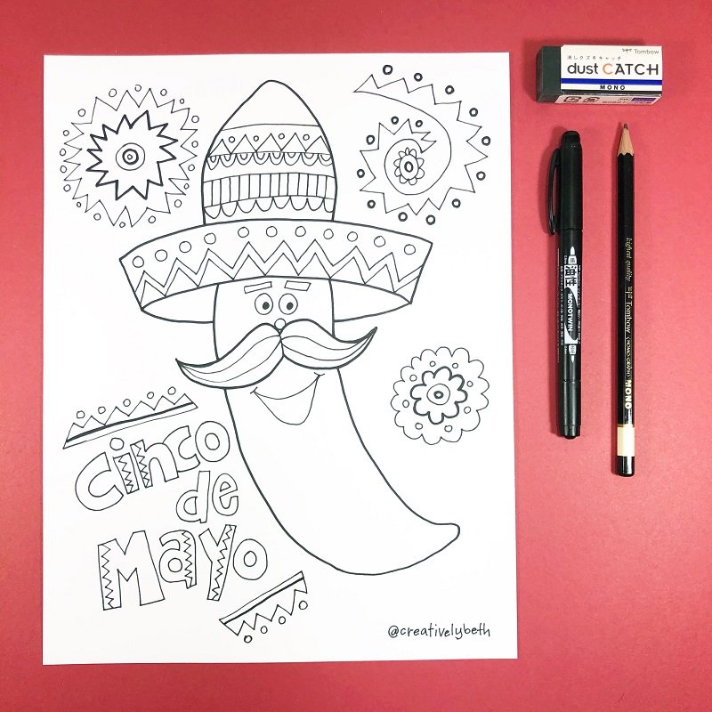 Happy Chili Pepper Hand Drawn Coloring Page Creatively Beth #creativelybeth #free #printables #coloring #pages #cincodemayo