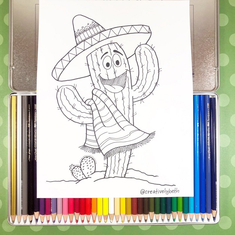 Smiling Cactus Download Now and Color Creatively Beth #creativelybeth #free #printables #coloring #pages #cincodemayo