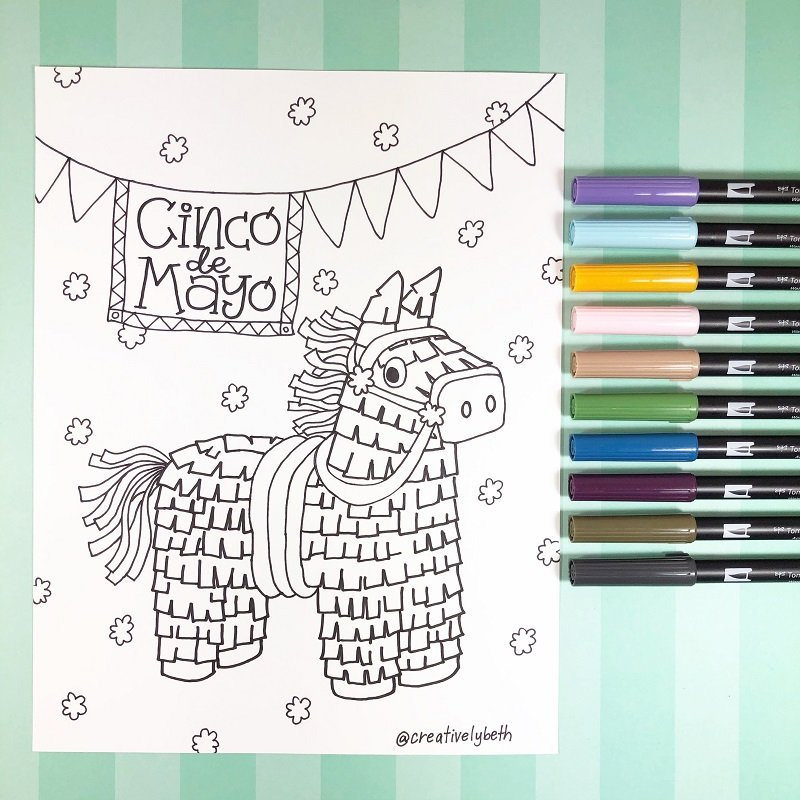 Cinco de Mayo Pinata FREE Printable Creatively Beth #creativelybeth #free #printables #coloring #pages #cincodemayo