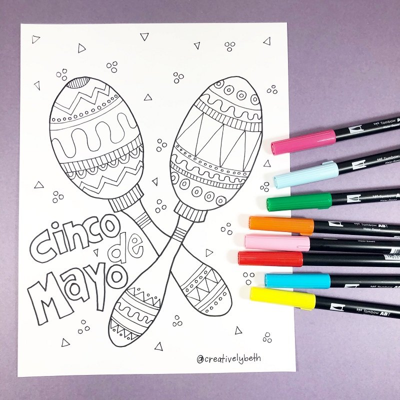 Festive Maracas Hand Drawn FREE Printable Download Now Creatively Beth #creativelybeth #free #printables #coloring #pages #cincodemayo