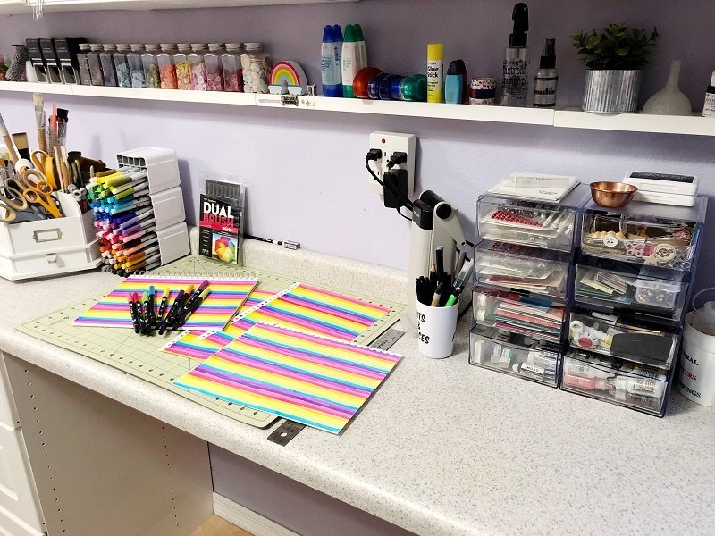 Creative work table with organized storage bins from Deflecto Creatively Beth #creativelybeth #cards #rainbow #tombowdualbrushpens #handlettering