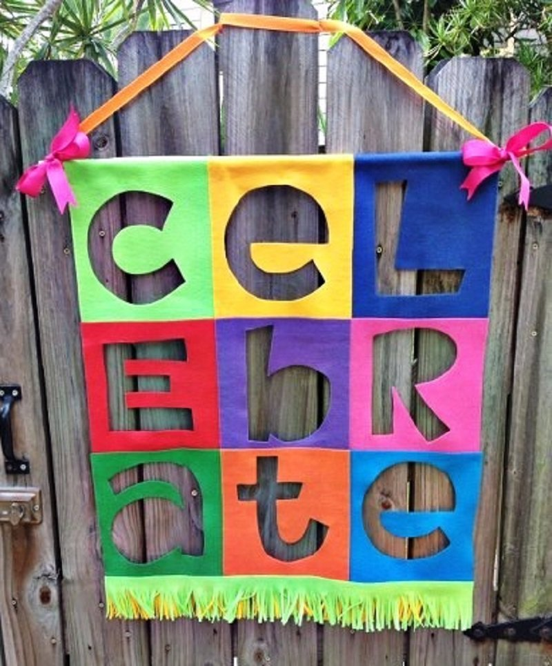 Colorful Felt is glued together to create a Celebrate Everything Banner Creatively Beth #creativelybeth #felt #banner #celebrate #diy