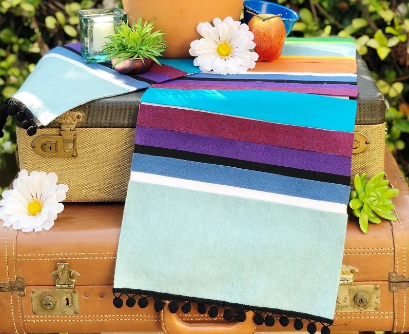 DIY Mexican Serape Table Runner Creativley Beth #creativelybeth #feltcrafts #mexicanserape #tablerunner #DIY #KuninFelt #BeaconAdhesives