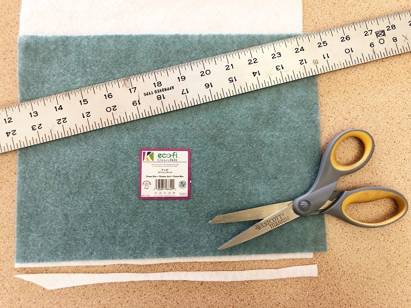Use a rectangle of felt to create a right angle cut on the end Creativley Beth #creativelybeth #feltcrafts #mexicanserape #tablerunner #DIY #KuninFelt #BeaconAdhesives