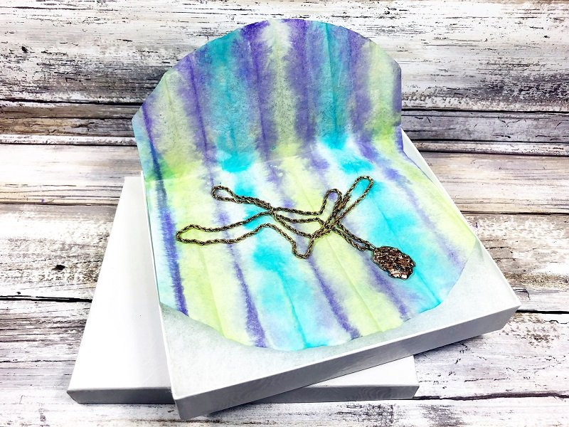 Use tie dye coffee filters to wrap a special gift Creatively Beth #creativelybeth #teidye #techniques #tombow #tombowdualbrushpens #dollartreecrafts #kidscrafts