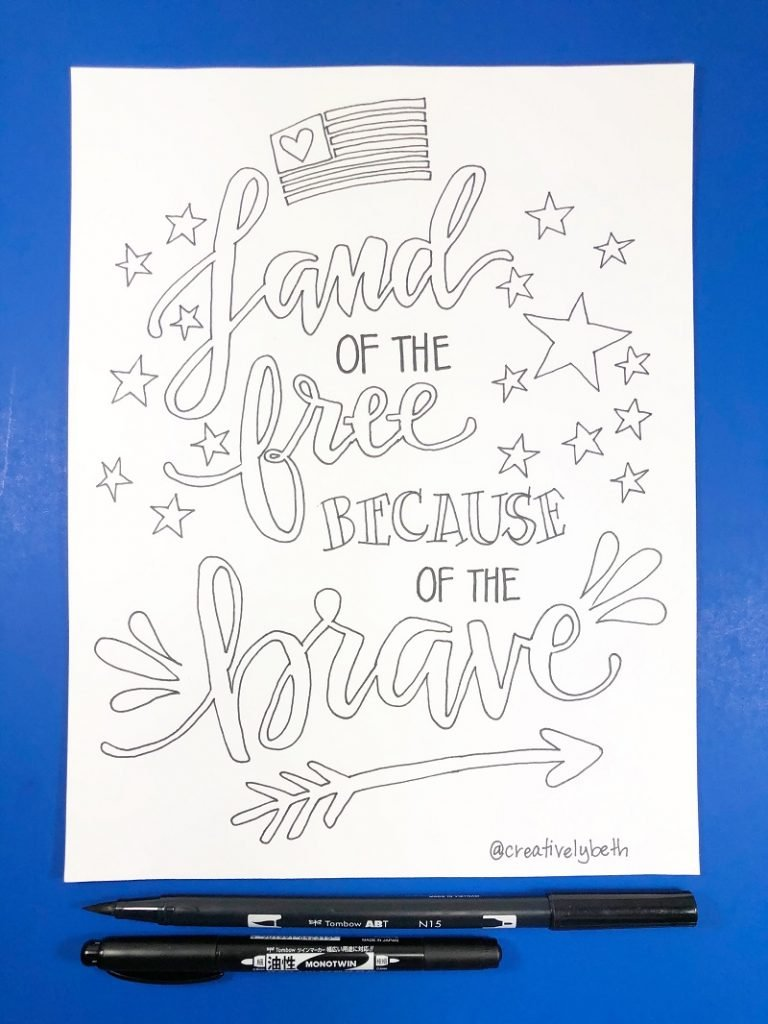 Land of the free because of the brave hand drawn free printable with a flag, stars and an arrow to celebrate Memorial Day #creativelybeth #freeprintable #memorialday #poppy
