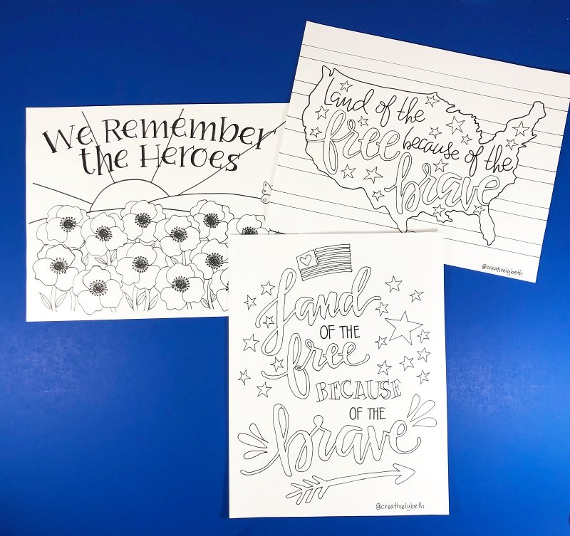 Three free hand drawn printables to celebrate Memorial Day #creativelybeth #freeprintable #memorialday #poppy