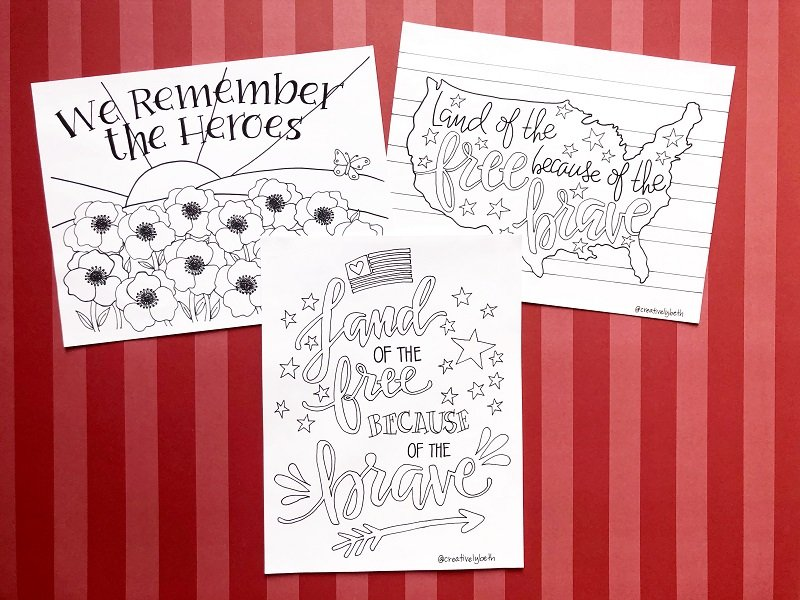 Three hand drawn printable to celebrate Memorial Day on a red background #creativelybeth #freeprintable #memorialday #poppy
