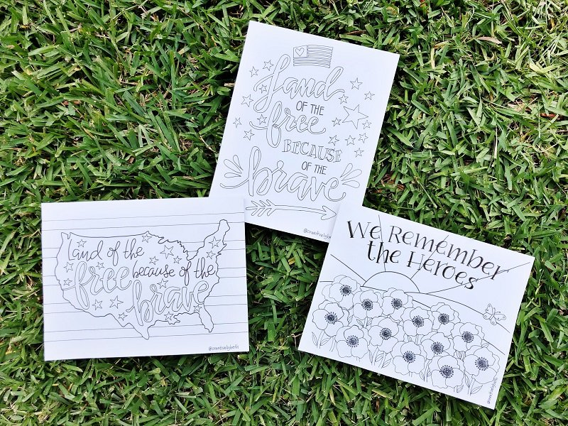 Three hand drawn printable to celebrate Memorial Day on a grass background #creativelybeth #freeprintable #memorialday #poppy