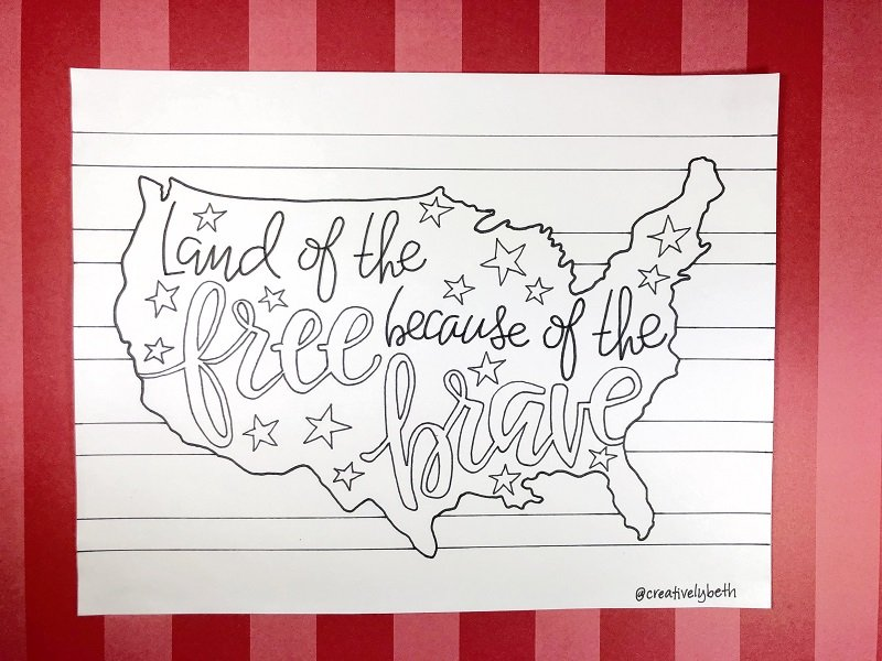 Land of the free because of the brave hand drawn free printable inside a US map to celebrate Memorial Day #creativelybeth #freeprintable #memorialday #poppy