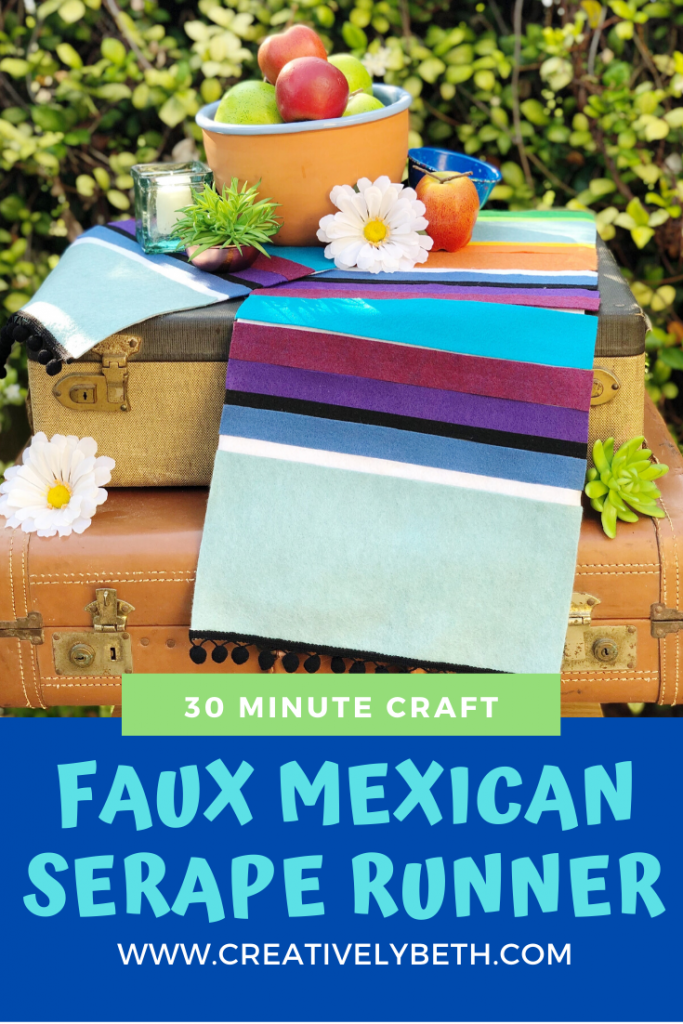 Create a Faux Mexican Serape Table Runner from Felt #creativelybeth #mexican #serape #diy #felt