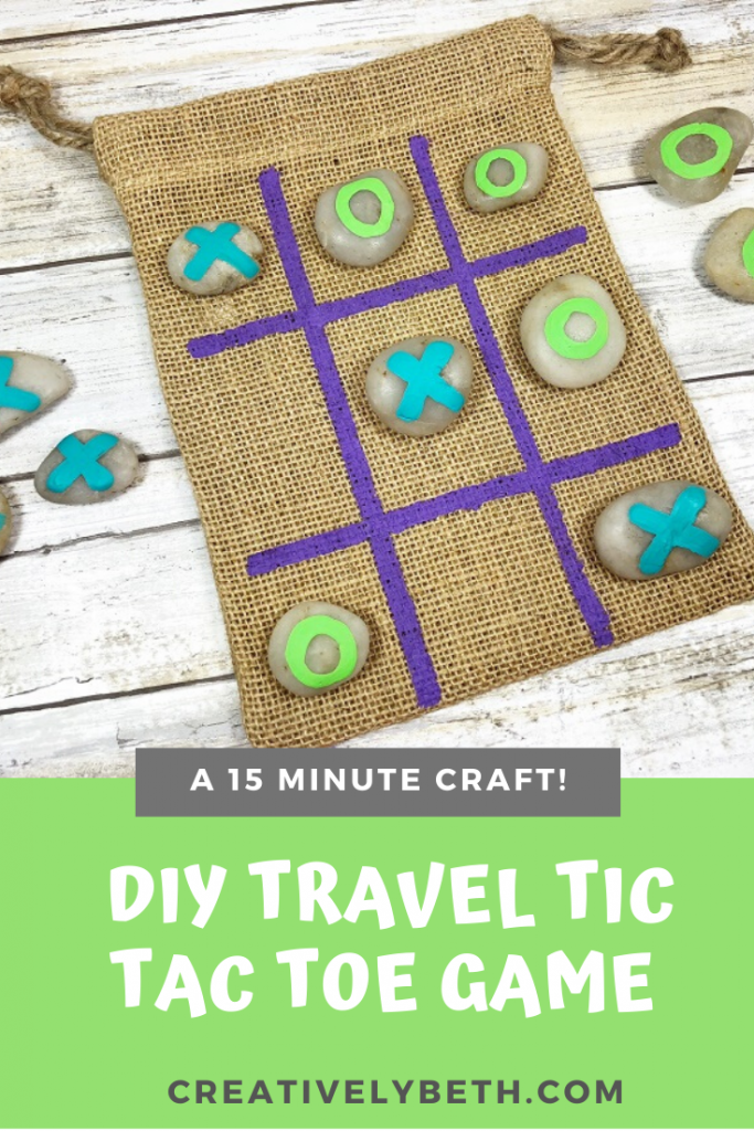 A DIY Tic Tac Toe Game to make in 15 Minutes with the Kids #creativelybeth #paintedrocks #tictactoe #DIY #game #kidscraft #15minutecraft