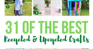 A collage of the 31 of the best recycled and upcycled crafts Creatively Beth #creativelybeth #recycledcrafts #upcycledcrafts #roundup