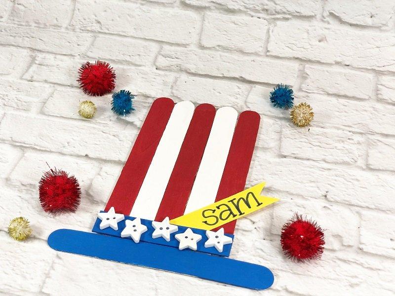 Dollar Tree Craft Stick Patriotic Hat Kids Craft Creatively Beth #creativelybeth #craftsticks #kidscrafts #patrioticcrafts #redwhiteandblue