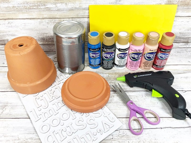 Materials needed to create a clay pot Uncle Sam Creatively Beth #creativelybeth #unclesam #upcycled #recycled #craft #patriotic
