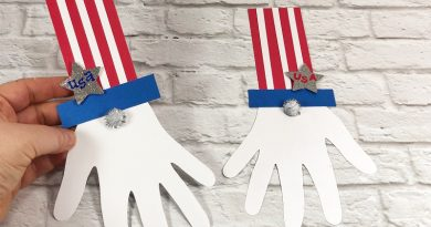 Dollar Tree Uncle Sam Gnome Kids Craft Creatively Beth #creativelybeth #patrioticcraft #kids #craft #handprint