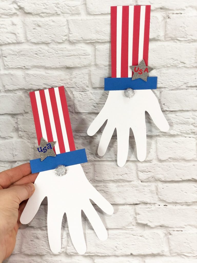 Uncle Sam Gnome Craft with Dollar Tree Supplies Creatively Beth #creativelybeth #patrioticcraft #kids #craft #handprint