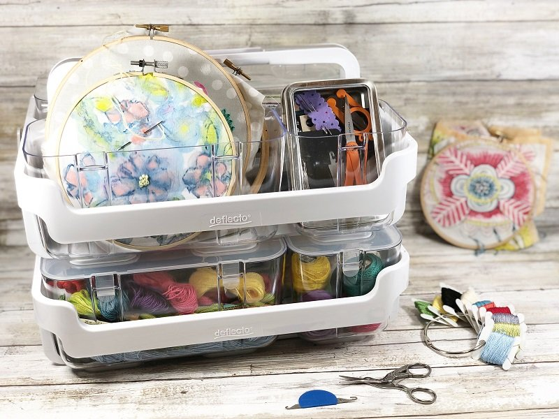 Create a portable organizer that fits all your easy embroidery projects so you can actually get them completed Creatively Beth #creativelybeth #embroidery #organization #deflecto