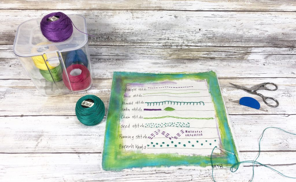 Easy embroidery project one is a stitch sampler Creatively Beth #creativelybeth #embroidery #organization #deflecto
