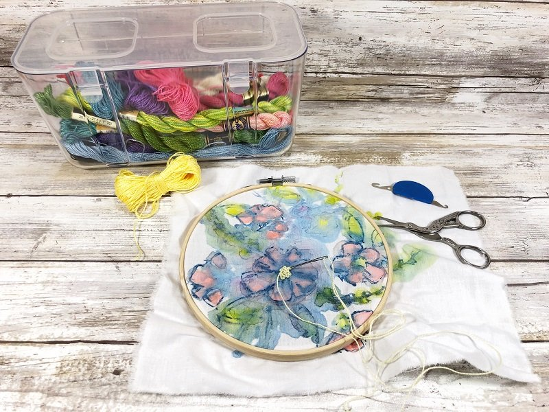 Easy embroidery project idea for beginners number two is adding stitches to painted fabric Creatively Beth #creativelybeth #embroidery #organization #deflecto