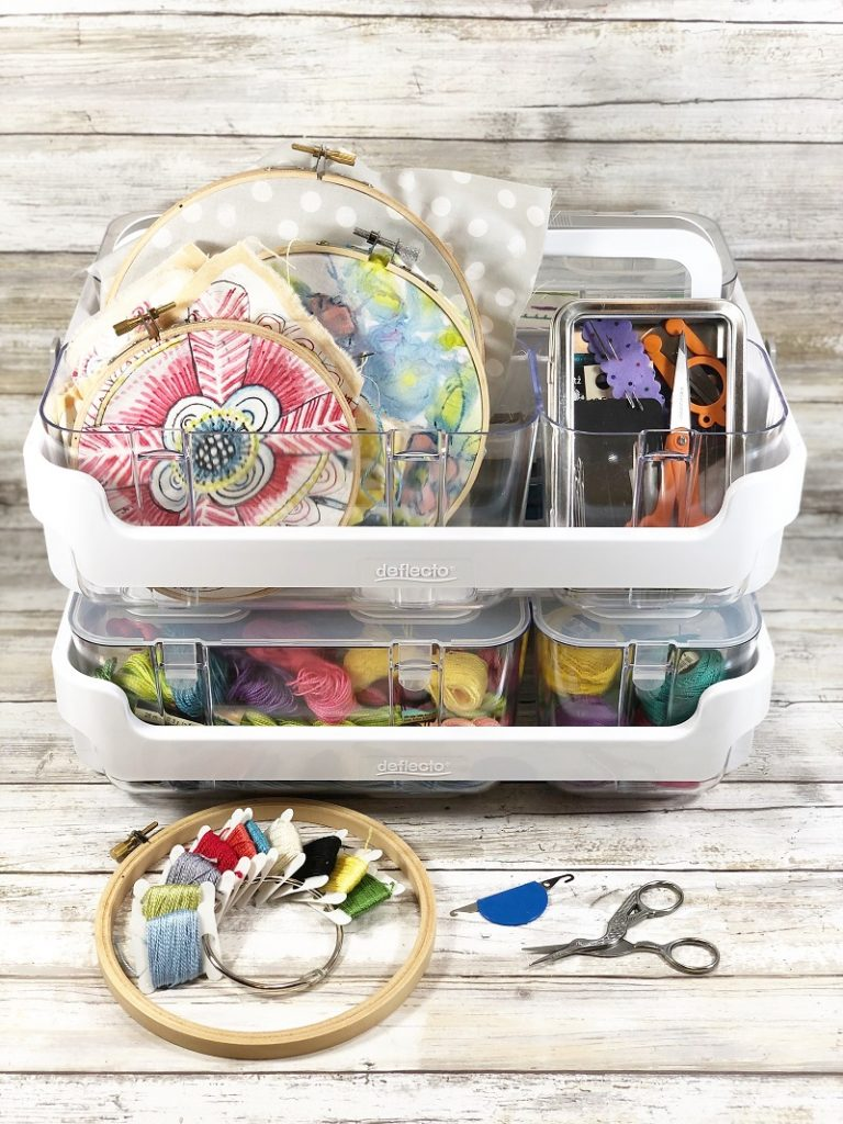 All your embroidery projects organized Creatively Beth #creativelybeth #embroidery #organization #deflecto
