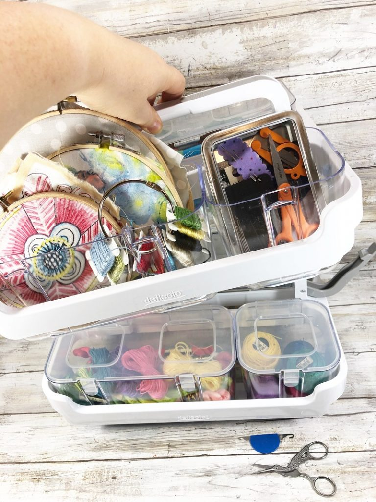 The Deflecto Caddy Organizer is stackable to create the perfect size organizer for all of your projects Creatively Beth #creativelybeth #embroidery #organization #deflecto