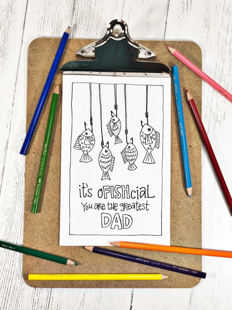 Hand drawn Father's Day card It's oFISHcial you are the greatest DAD! Creatively Beth #creativelybeth #freeprintable #fathersday #cards #handdrawn #coloringpage #printandcolor