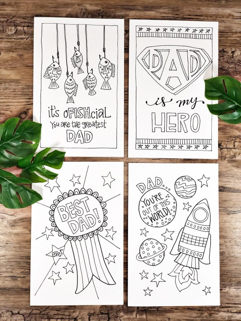 Four hand drawn free printable Father's Day cards for the kids to color Creatively Beth #creativelybeth #freeprintable #fathersday #cards #handdrawn #coloringpage #printandcolor