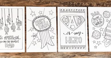 Hand drawn free printable Father's Day cards four designs to select from Creatively Beth #creativelybeth #freeprintable #fathersday #cards #handdrawn #coloringpage #printandcolor