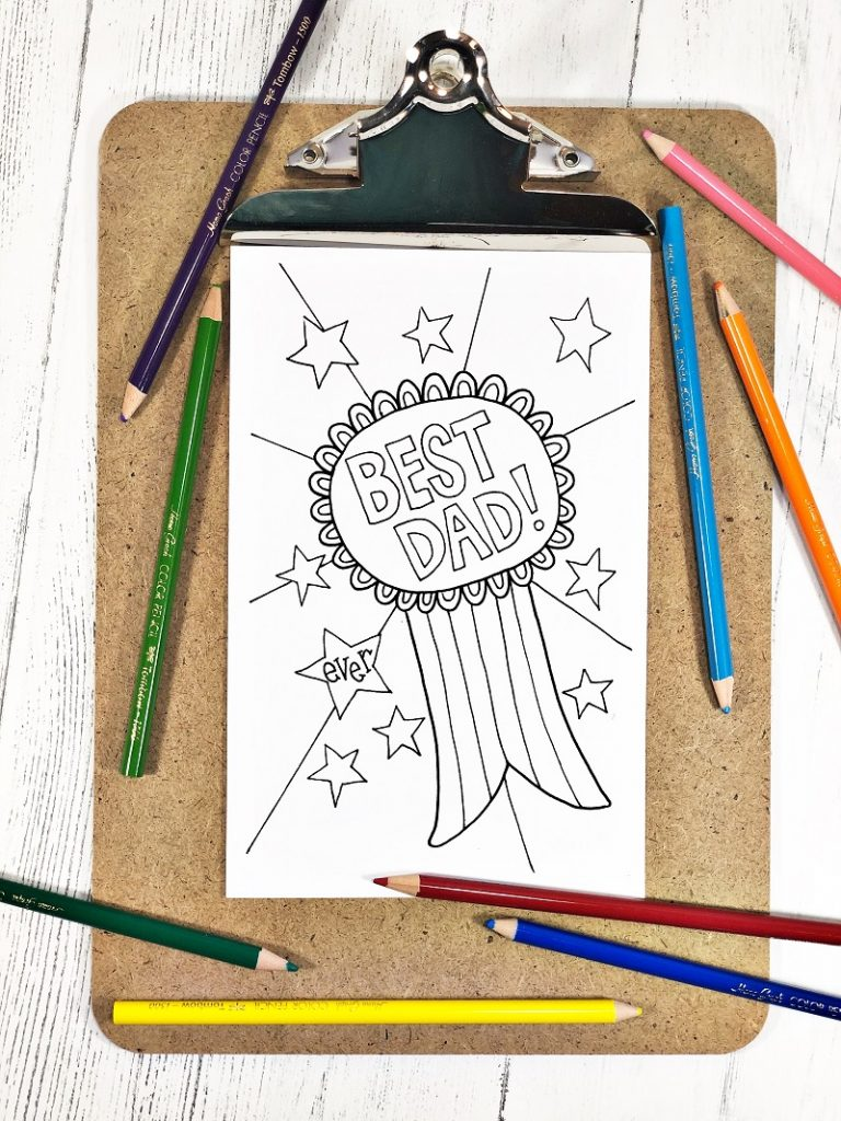Printable Father's Day card with a ribbon saying Best Dad Ever! Creatively Beth #creativelybeth #freeprintable #fathersday #cards #handdrawn #coloringpage #printandcolor